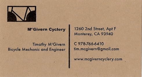 The first McGivern Cyclery business card